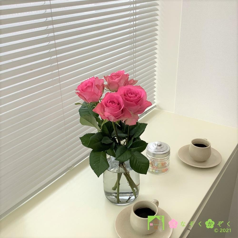 ハウスの中から最もゴージャスなバラを選び抜きました。ブロッサムピンク 5本