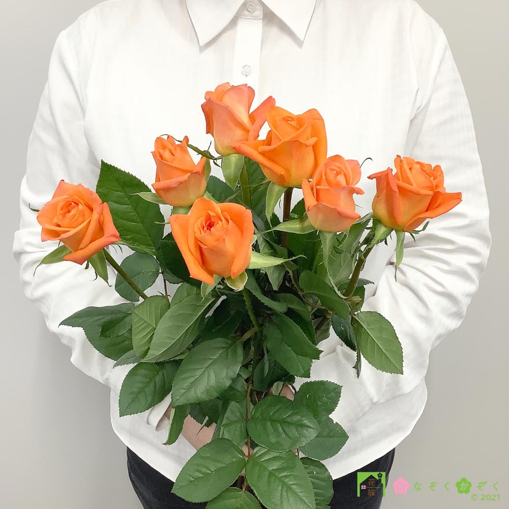 【バラ オレンジ】ハウスの中から最もゴージャスなバラをお届け。ブードゥー 7本