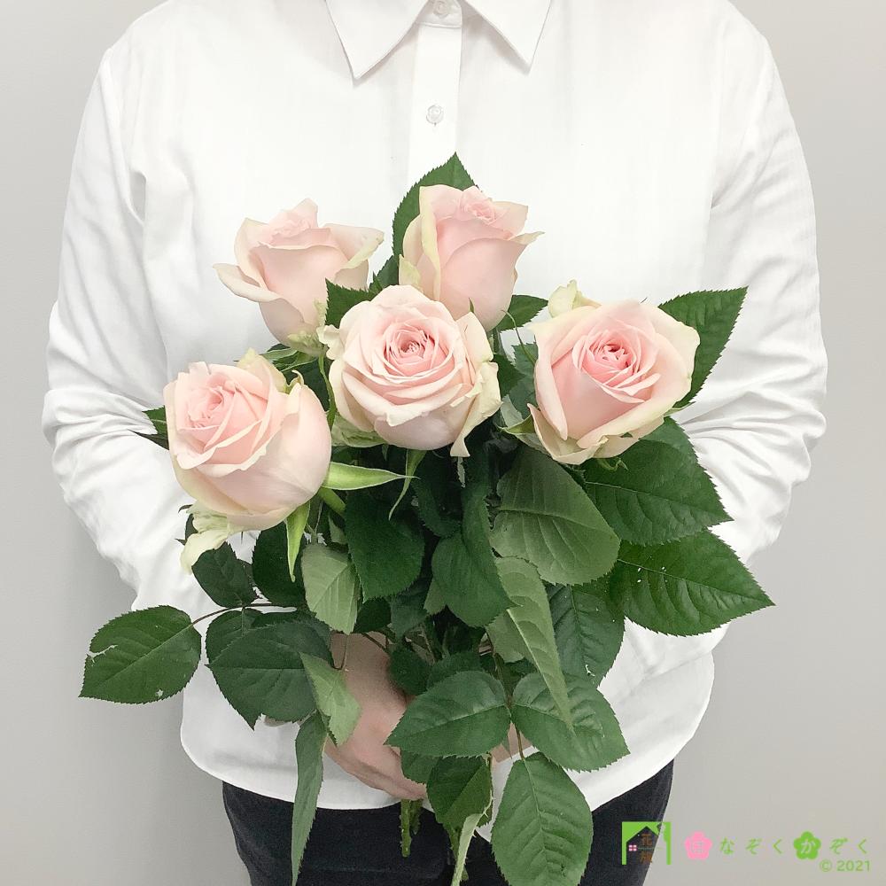 【バラ ピンク】ハウスの中から最もゴージャスなバラをお届け。ソメイユ 5本